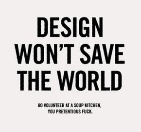 design won't save theworld